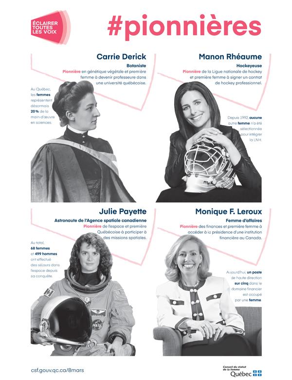 Affiche #Pionnières. Carrie Derick, botaniste. Manon Rhéaume, hockeyeuse. Julie Payette, Astronaute de L'Agence spatiale. Monique F. Leroux, femme d'affaires.