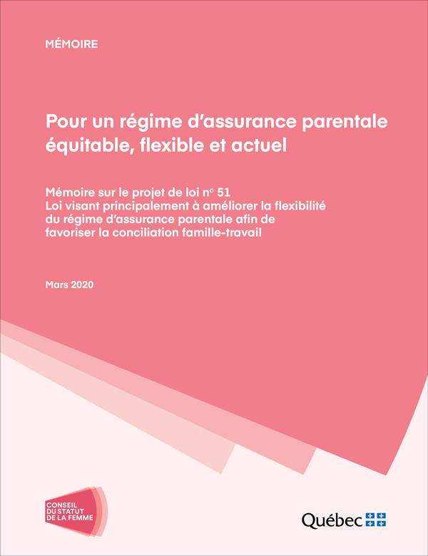 Mémoire Pour un régime d'assurance parentale équitable, flexible et actuel. Mars 2020. Logo du CSF. Éclairer toutes les voix.