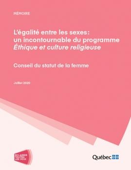 L'égalité entre les sexes : un incontournable du programme Éthique et culture religieuse. Juillet 2020. Logo du CSF Éclairer toutes les voix.