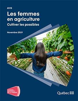 Avis Les femmes en agriculture. Cultiver les possibles. Novembre 2019. Logo du Conseil du statut la femme.