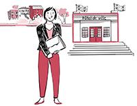 Illustration d'une femme devant l'hôtel de ville.
