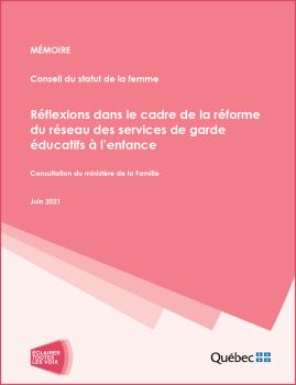 Mémoire – Réflexions dans le cadre de la réforme du réseau des services de garde éducatifs à l'enfance